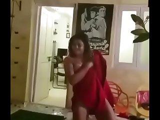 Unseen desi girl dancing in towel