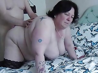 Fucking BBW doggy, swinging tits2