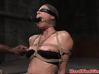 Skinny bdsm sub gagged and toyed by maledom