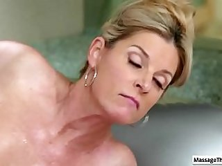 Hot mature massage  babe get her juicy cunt drilled har d by her horny client