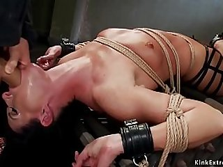 Hot Milf slave trainee of the year India Summer gets hard whipped in different grueling sex bdsm positions then gets her gaping asshole toyed by masters Owen Gray and James Mogul