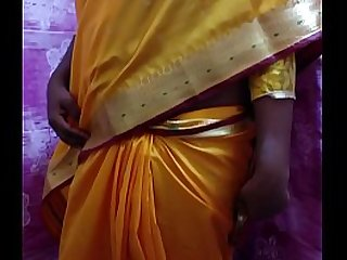 Desi Hot Wife Stripping In Yellow Saree
